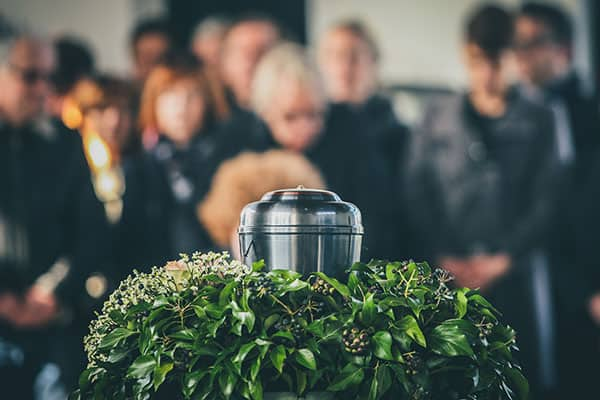 cremation urn and funeral